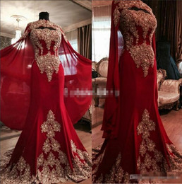 Wholesale High Collar Long Cloak - Luxurious Lace Red Arabic Dubai India Evening Dresses Sweetheart Beaded Mermaid Chiffon Prom Dresses With A Cloak Formal Party Gowns 2017