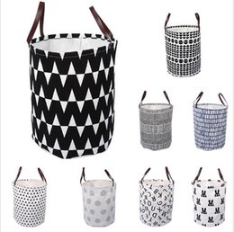 Wholesale Bucket Organizer - Ins Storage Baskets Bins Kids Toys Storage Bags Bucket Clothing Organizer Laundry Bag Canvas Organizer Polka Dot Laundry Bin KKA2137