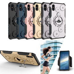 Wholesale Black Metal Gear - Mechanical Gear TPU+PC hybrid Case Sports Running Armband Stand Holder Cover Armor Cases For iPhone X 8 7 6 Plus Samsung S7 Edge S8