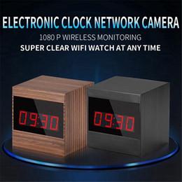 Mesas de cubo on-line-32 GB Câmera de Rede Sem Fio HD 1080 P Wi-fi Relógio Digital Câmera Cube Table Alarm Clock Night Vision Vigilância Mini DVR Câmera de segurança