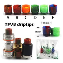 Индивидуальные капельницы онлайн-Советы по каплеобразованию смолы для испарителя TFV8 Эпоксидные мундштуки для электронных сигарет Fit 510 распылителей 6 цветов с индивидуальной упаковкой