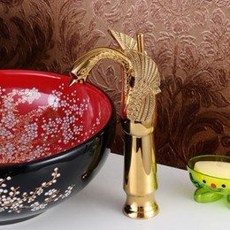 Wholesale Gold Swan Faucets - gold bathroom sink faucets new simple deck mounted water faucet hot and cold Swan basin faucet