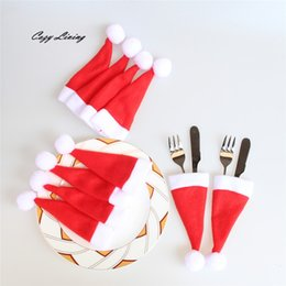 Wholesale C Decor - Christmas Caps Cutlery Holder Fork Spoon Pocket Christmas Decor Bag Knife Fork Set Cover Christmas Supplies Mini Santa Hat
