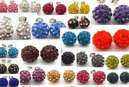 Wholesale Wholesale Crystal Shamballa Stud - Genuine Crystal Disco Ball Lady 925 Silver Shamballa Stud 18K Earring 10mm for Girls Xmas Gift Decoration