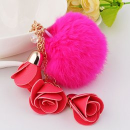 Wholesale Flower Keyrings - Rabbit Fur Ball Fluffy Round Ball with PU Leather Flowers Pendants Metal Keychain Keyring Car Keychains Handbag Pendant Charms Car Ornaments