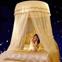 Wholesale net canopies - Luxury Romantic Hung Dome Mosquito Net Princess Students Insect Bed Canopy Netting Lace Round Mosquito Nets Curtain for Bedding JQ0038