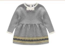 Wholesale Baby Girl Striped Sweaters - Fashion Spring Winter Newborn Baby Girls Sweater Princess Dress Infant Knit Gress Kids Little Girl Dress