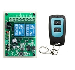Wholesale Garage Door Switches - Wholesale- DC 12V 2CH Learning Code Wireless Remote Control Switch System teleswitch 1* Receivers and 1*Transmitter applicance garage door