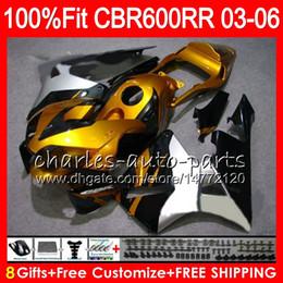 Honda cbr gold on-line-Ouro prata 8Gifts 23Colors Injetor Para HONDA CBR 600RR F5 CBR 600 RR 05 06 43NO107 CBR600RR 03 04 CBR600F5 CBR600 RR 2003 2004 Carenagem