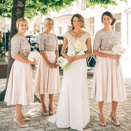 Wholesale Sequin Half Sleeves Tops - 2017 New Blush Two Pieces Bridesmaid Dresses Half Sleeves Sequins Maid of Honor Dress Vintage Tea Length Prom Party Gowns Crop Top BA6555