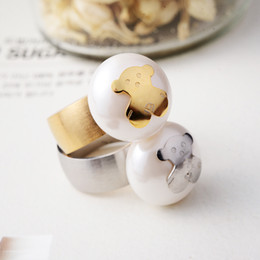 Wholesale Sets For Big Girls - 18k Gold Plated and Silver Women's Teddy Bear Big Pearl Stainless Steel Ring for Girl