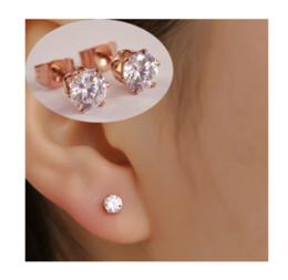 Wholesale Cheap Gold Plated Earrings - Titanium Steel Classic Six-Prong Setting 2 carat Cubic Zircon Women Wedding Stud Earrings  Fashion Unisex Cheap Stud Earrings