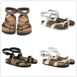Wholesale Ankle Wrap Flat Sandals - New Famous Brand Arizona Women's Flat Heel Ankle-Wrap Sandals Spring Summer Classic Casual Ventilation Comfortable Genuine Leather Slippers