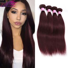 Wholesale Malaysian Human Hair Straight 3pcs - Brazilian Straight Hair Dye 99J Bundles Brazilian Virgin Hair Peruvian Malaysian Indian Human Hair Extensions 3PCS Or 4PCS Lot