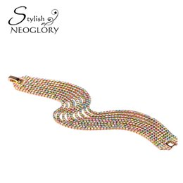 Wholesale Bracelet Tennis Multicolor - Fashion MADE WITH SWAROVSKI ELEMENTS Rhinestones Multicolor Bracelets Rose Gold Plated Party Jewelry 2017 New Neoglory