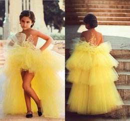Wholesale Cupcake Birthday Shirt - Yellow Little Girls Pageant Dresses 2017 High Low Tiered Tulle Flower Girl Ball Gowns Sheer Neckline Appliques Cupcake Kids Prom Party Dress