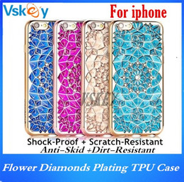 Wholesale Iphone Flower Bling - Luxury 3D Flower Bling Diamonds Plating TPU Case For Iphone 7 Plus Rhinestone Diamond Soft Back Cover For iphone 6 6s plus
