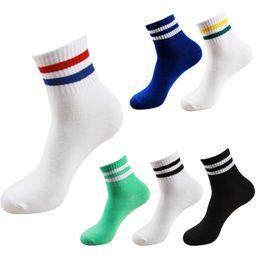 колледж носки Скидка 2017 корейский новый бутик хлопок Harajuku женщины девушки короткие носки две полосы унисекс колледж ретро повседневная мужская трубка носки бесплатная доставка
