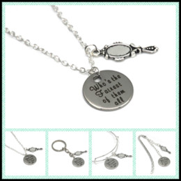 Wholesale mirror pendants - 12pcs lot Snow white quote Who's the Fairest of the All necklace bracelet keyring bookmark cute mirror shaped charm necklace
