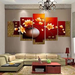 Unframed 5 Piece Picture Flower Vaso Canvas Art Print Pittura a olio Immagini a parete per soggiorno Dipinti Cuadros Decorativos da