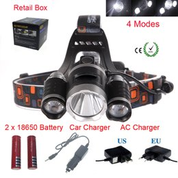 Wholesale Cree Led Headlight Headlamp - 8000 Lumens Headlight 3 LED Cree XM-L T6+2R5 Head Lamp High Power LED Headlamp +2*18650 battery+EU US AU UK Charger+car charger