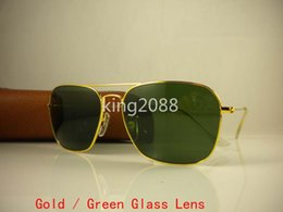 Wholesale Leather Framed Glasses - 1Pcs High Quality Mens Womens CARAVAN Sunglasses Metal Gold Frame Green Glasses Lens 58mm Come With Brown leather Box And Case Eyewear