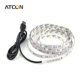 Wholesale Led Tape Light Power Supply - 1Pcs DC 5V USB Power Supply Decor RGB LED Strip light lamp Tape SMD 3528   5050 50CM 1M 2M Ribbon For TV Background Lighting