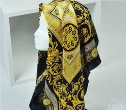 Wholesale Silk Square Neck Scarves - 2018 Famous Style 100% Silk Scarves of Woman and Men Solid Color Gold Black Neck Print Soft Fashion Shawl Women Silk Scarf Square