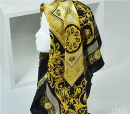 sciarpa a righe bianche blu Sconti Sciarpe di seta da donna e da uomo stile famoso al 100% di colore solido oro nero collo stampa scialle moda sciarpa di seta da donna quadrata