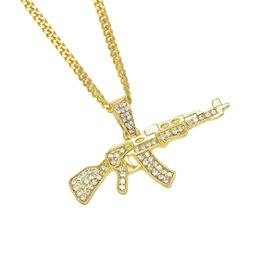 Wholesale Rhinestone Gun Necklace - Men's Fashion Cool AK47 Machine Gun Pendant Necklace Hip Hop Jewelry Alloy Silver Gold Plated Rhinestone ASG Rifle Necklace
