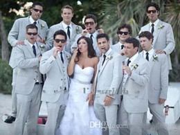 Wholesale Grey Tuxedos - 2016 Summer Men Suits Beach Grey Linen Suits Notched Lapel wedding grooms tuxedos slim fit suits (Jacket+Pants+vest+tie) Free Shiping