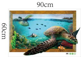Wholesale Turtle Wall Decals Removable - Free Shipping Wholesale Sea Turtle Aniamal Removable DIY Wall Decal Sticker Modern Art for Kids Nursery Living Room
