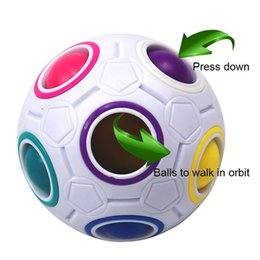 Wholesale Kid Puzzles Wholesale - Rainbow Fidget Ball Challenging Puzzle Ball Puzzle Fun Sphere Speed Cube EDC Novelty Fidget Football Brain Teasers Educational Toys
