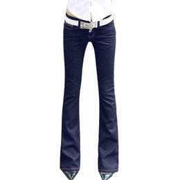 Wholesale Trousers For Womens - Wholesale- Womens Blue Denim Stretch Flare Jeans Low Waisted Long Bell Skinny Spandex Jean Trousers Woman Denim Pants For Slim Hip Women