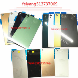 Wholesale Xperia Z1 Glass Back - 10pcs A quality for Sony Xperia Z3 Z4 Z5 Z1 Z3 Z5 Compact MINI back Battery door Back Housing Cover glass