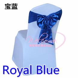 Wholesale Royal Blue Satin Sash Chair - Royal blue colour chair sash Butterfly style satin sash with lycra sash fit all chairs spandex wedding chair bow tie wholesale