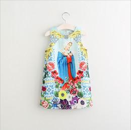 Wholesale Goddess Fashion Style - Girls Dress Kids Clothing 2017 Spring Print Goddess Dress Fashion Sleeveless Flower Vest Princess Dress ER-990