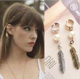 Wholesale Plume Earring - Fantastic Pearl Ear Cuff Punk Trendy Feather Earrings Alloy Plated Plume Ear Clip Vintage Style Jewelry Earring