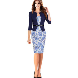 Wholesale Work Jacket Dress - Wholesale free shippingPlus Size OL Formal Women Floral Office Dress Bodycon Pencil Dresses One piece Patchwork Faux Brief Jacket Workwear S