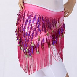 Wholesale Belly Dancing Waist Scarf - New Arrival Belly Dance Hip Scarf Women Dancing Waist Chain Tassel Sequins Skirt Wrap Belt Bellydance Accessories UA0220