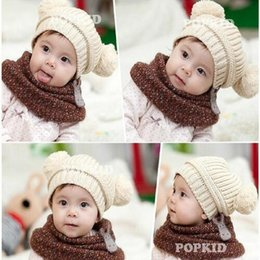 Wholesale Knit Ball Headband - Children's Fashion Newborn baby girls boys Winter Hats Cap Double Ball Cute Sweater knitted hat Free Shipping A268