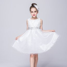 Wholesale Show Girl Evening Dress - child Sequined princess dress girl children dress baby girl model dresses kid party dresses crystal evening long gown for show