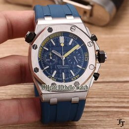 Wholesale Rubber Strap Mens Watches - Super Clone Luxury Brand Diver high quality Blue Dial Quartz Chronograph Mens Watch Blue Rubber Strap Sport Cheap New Wirstwatches AAA