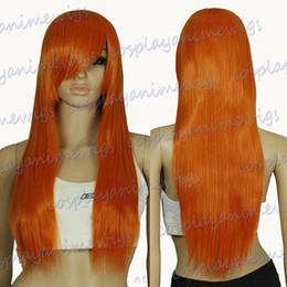 Wholesale Wigs Red Orange - 70cm Pumpkin Orange Heat Styleable Long Cosplay Wigs 76_PPO
