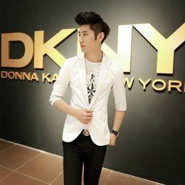 Wholesale korean fashion blazers - New Arrival Spring Fashion Wild Korean Candy Color Stylish Slim Fit Men's Suit Jacket Casual Business Dress Blazers