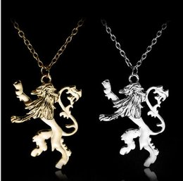 Wholesale Lion Link Chain Wholesale - Promotion Song Of Ice And Fire Necklaces Game Of Thrones Lannister Badge Logo Two Sides Lion Pendant Necklace Statement Jewelry Xmas Gift