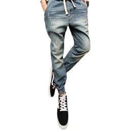 Wholesale Harem Pants Plaid Man - Wholesale- Fashion Men Ripped Denim Pants Casual Mens Joggers Male Biker Jeans Pant Men Harem Pants Korean Slim Fit Hip Hop Man