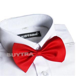 Wholesale Neck Ties 7cm - Wholesale- 1Pcs Lovely Kids Boys Bow Tie for Wedding Party Children Ties Butterfly Type Necktie Free Shipping 4 Colors 11cm x 7cm