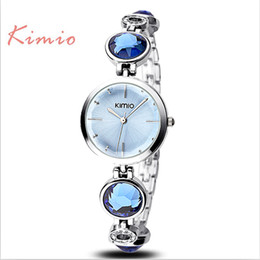 Wholesale Daily Watch - Wholesale- JW756 Colorful Big Crystal Alloy Band Chains Women Daily Water Resistant Luxury Analog Watch Girls Bracelet Watch