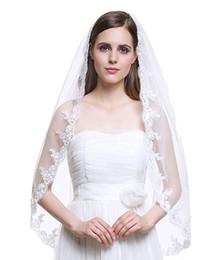 Dedos simples velos online-Venta caliente simple 1 Tier Marfil y Blanco Fingertip Tulle Velo nupcial de la boda Applique Edge con Comb-V33